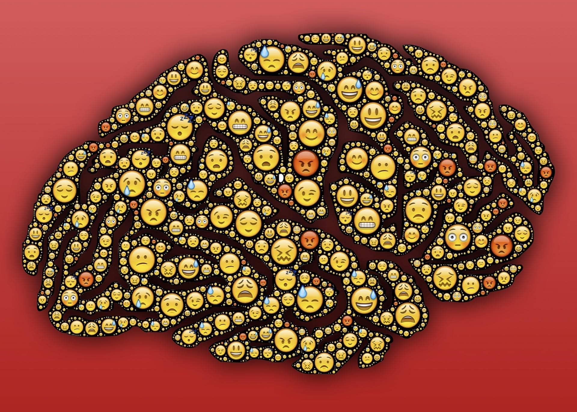 Cerveau avec émotions diverses